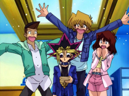 Tristan, Joey, and Tea freaking out after Yugi receives a package from Pegasus in episode 148