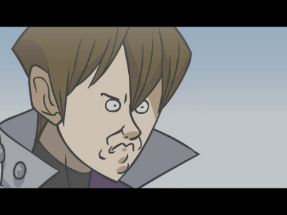 Kaiba reacting to Pegasus' confession at the end of YGOTAS episode 59