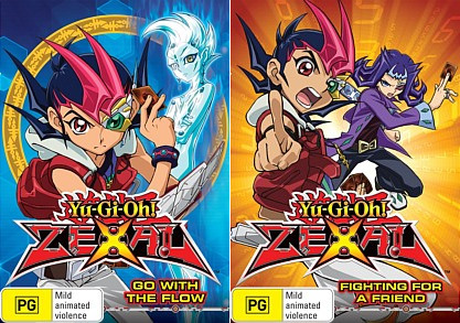 DVD covers of Yu-Gi-Oh! Zexal Go With The Flow and Fighting For A Friend