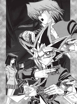 Yugi, his friends, and Yako Tenma on the cover page of chapter 1 of Yu-Gi-Oh! R