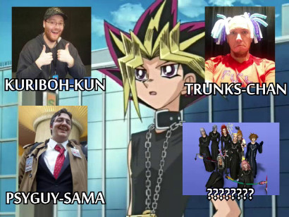 Yami highlighting some San Japan guests in LittleKuriboh's San Japan - 100% Emo Cure video