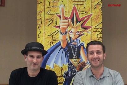 Eric Stuart (Kaiba) and Darren Dunstan (Pegasus) recording a message at the Yu-Gi-Oh! TCG North American WCQ 2013