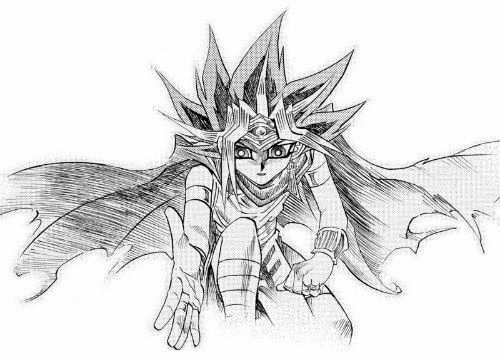 The pharaoh lends Sugoroku Mutou a hand in chapter 1 of Yu-Gi-Oh! Millennium World