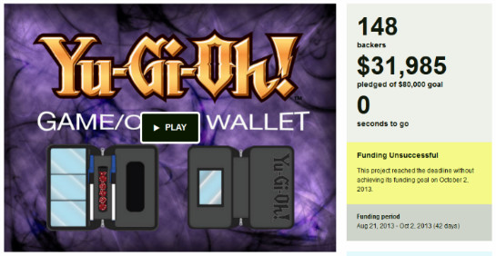 The Yu-Gi-Oh! Game Wallet Kickstarter failed to be funded