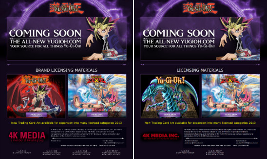 YUGIOH.com splash page from October 2012 and June 2013