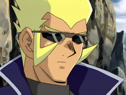 Rafael spots the pharaoh, Yami Yugi, in a valley inhabited by evil apparitions in episode 164