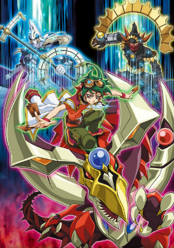 Yu-Gi-Oh! ARC-V promotional image with Yuya, Odd-Eyes Pendulum Dragon, Stargazer Magician, and Timegazer Magician