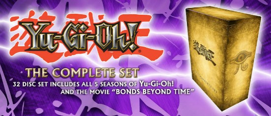 Banner from YUGIOH.com announcing Yu-Gi-Oh! The Complete Set Cinedigm DVD Megaset