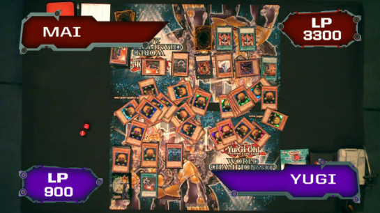 Yugi, with his field full of Kuriboh, attacks Mai using Obelisk at the World Championship 2013