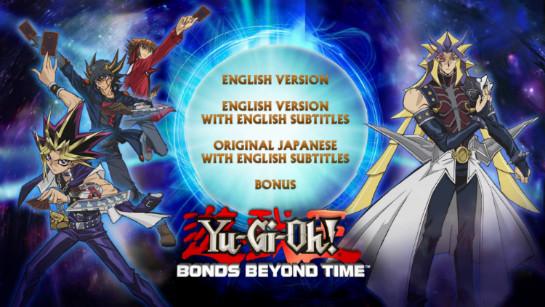 Cinedigm's Yu-Gi-Oh! Bonds Beyond Time Blu-ray menu
