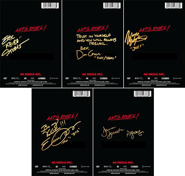 DVD box sets with the autographs of the Yu-Gi-Oh! voice actors