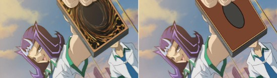 The original and edited card backings seen in ZEXAL episode 1