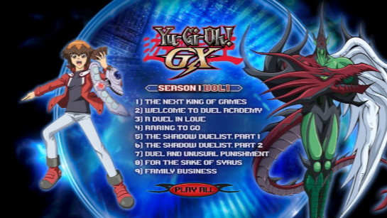 Cinedigm's Yu-Gi-Oh! GX Season 1, Volume 1, Disc 1 DVD menu