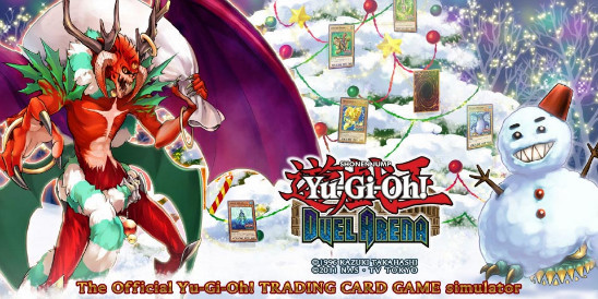 Santa Claws and Snowman Eater in the Yu-Gi-Oh! Duel Arena Christmas banner
