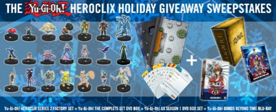 YUGIOH.com Heroclix holiday giveaway sweepstakes banner