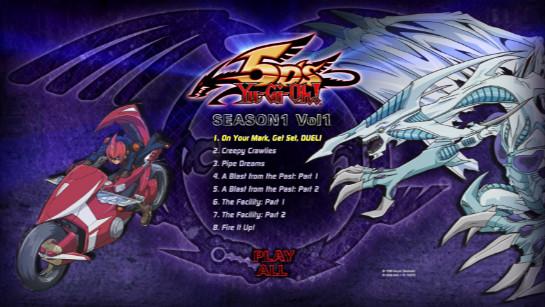 Cinedigm's Yu-Gi-Oh! 5D's Season 1, Volume 1, Disc 1 DVD menu