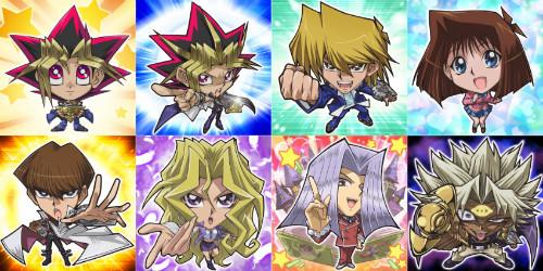 Yugi Muto, Yami Yugi, Joey Wheeler, Tea Gardner, Seto Kaiba, Mai Valentine, Maximillion Pegasus, and Yami Marik avatars from Yu-Gi-Oh! Duel Arena