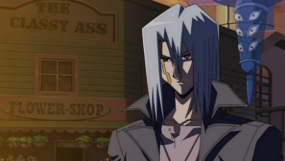 Kyosuke Kiryu standing in front of The Classy Ass Flower Shop in Yu-Gi-Oh! 5D's episode 92