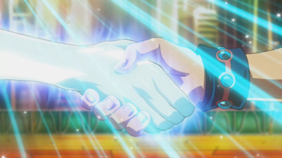 Yuma Tsukumo and Astral shaking hands after their duel in ZEXAL episode 146