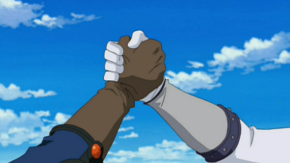 Yusei Fudo and Jack Atlas clasping hands in Yu-Gi-Oh! 5D's episode 154