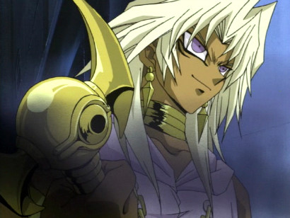 Marik preparing to strike a deal with Yami Bakura in episode 69