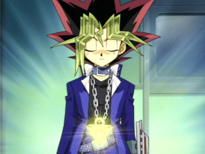 Yugi's Millennium Puzzle glowing as he is about to transform into Yami Yugi in episode 81