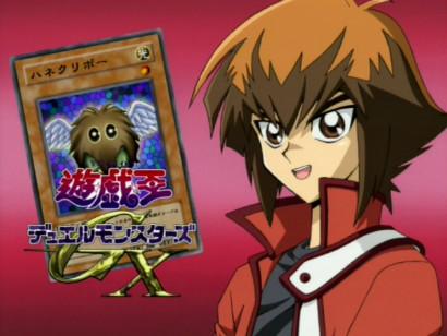 Judai Yuki and his Winged Kuriboh card in the eyecatch of GX episode 1