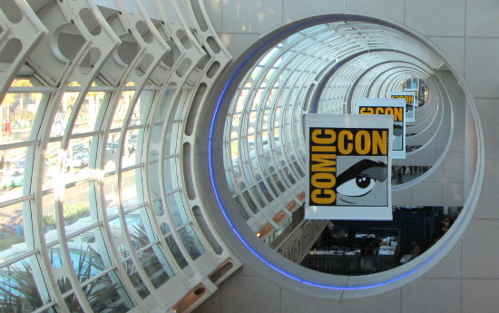 Comic Con banners hanging in the San Diego Convention Center