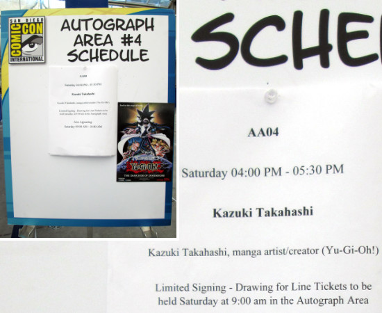 Schedule for Kazuki Takahashi's signing session at SDCC 2015