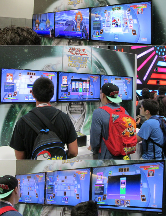 Duelists trying out the Legacy of the Duelist game at the Konami SDCC 2015 booth