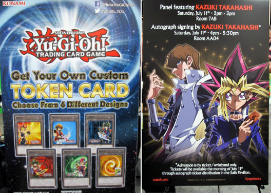 Posters announcing the custom Token card event and Kazuki Takahashi's events at SDCC 2015