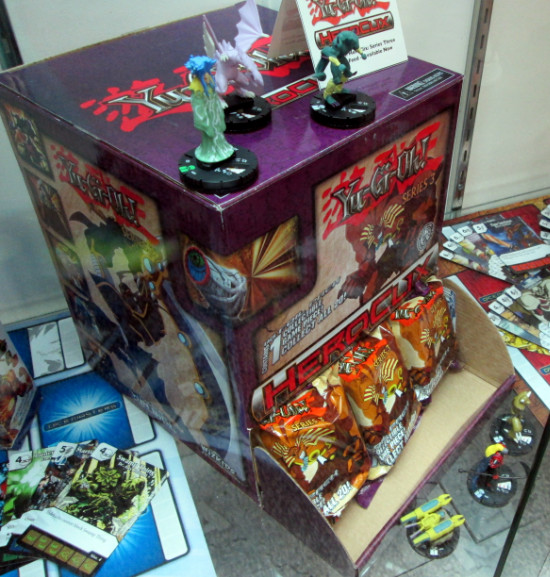 Yu-Gi-Oh! HeroClix Series 3 gravity feed display at San Diego Comic Con 2015