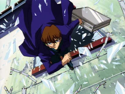 Seto Kaiba escapes two gun-toting thugs by smashing and jumping through a window in episode 8