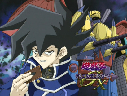 Jun Manjoume and VWXYZ-Dragon Catapult Cannon in the eyecatch of GX episode 4
