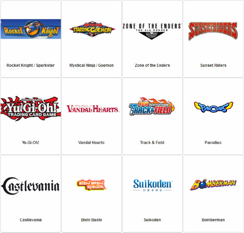 Some of the franchises included in the Konami Heritage Games Survey