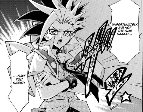 A dark, masked duelist unmasks himself in Yu-Gi-Oh! ARC-V manga chapter 1