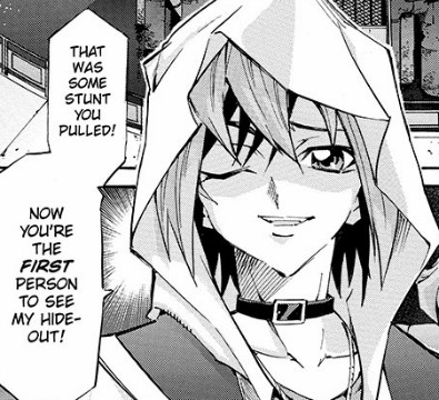 A hooded Yuya Sakaki winking in Yu-Gi-Oh! ARC-V manga chapter 3