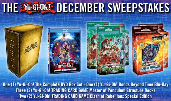 Yu-Gi-Oh! December 2015 Sweepstakes banner from YUGIOH.com