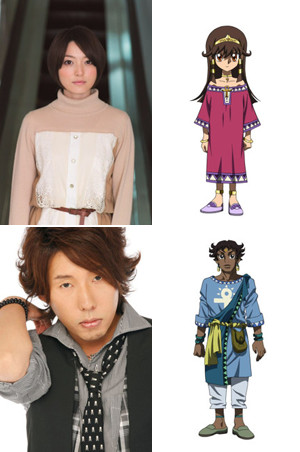 Actors Kana Hanazawa and Satoshi Hino with their characters Sera and Mani from Yu-Gi-Oh! The Dark Side of Dimensions