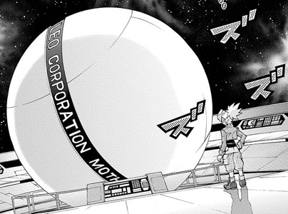 Sora Shiunin approaching Leo Corporation's Mother Computer in Yu-Gi-Oh! ARC-V manga chapter 7