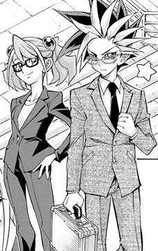 Yuzu and Yuto wearing business suits in Yu-Gi-Oh! ARC-V manga chapter 7