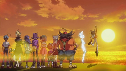 Yuma, Astral, and all of their friends gazing at the sunlight after escaping from Sargasso in ZEXAL episode 98