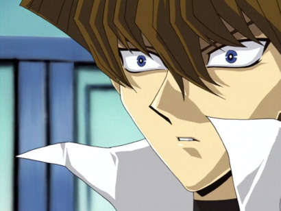 Seto Kaiba shocked that he can read the ancient Egyptian text on the Winged Dragon of Ra card in episode 95
