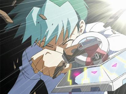 Noah recoiling when Kaiba destroys his Shinato's Ark in episode 116