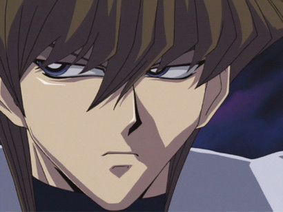 Kaiba scoping out the action in Joey and Yami Marik's duel in episode 127