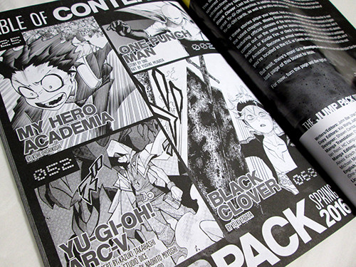 Table of contents of VIZ Media's Spring 2016 WSJ Jump Pack