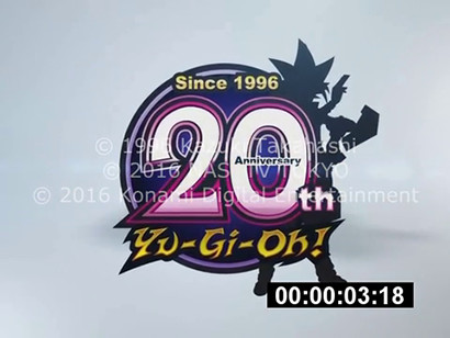 Japanese Yu-Gi-Oh! 20th anniversary logo from the Yu-Gi-Oh! April Fools English dub hoax video