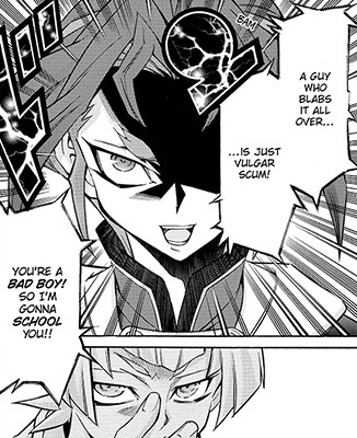 Yuri promising to school the bad boy Sora Shiunin in Yu-Gi-Oh! ARC-V manga chapter 9