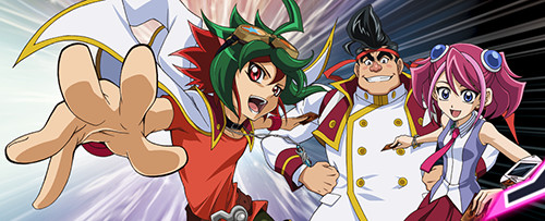 Yuya Sakaki, Gong Strong, and Zuzu Boyle in the Yu-Gi-Oh! ARC-V banner on YUGIOH.com