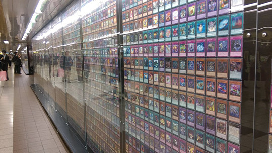 More cards on display at the Yu-Gi-Oh! The Dark Side of Dimensions card exhibit in Shinjuku